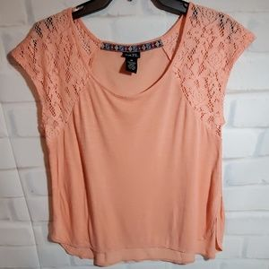 Rue 21 peach  lace shoulder top. Size Medium